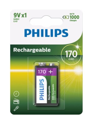 Pile Philips rechargeable 9v