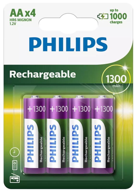 PILES RECHARGEABLES PHILIPS AA-R6B4A130