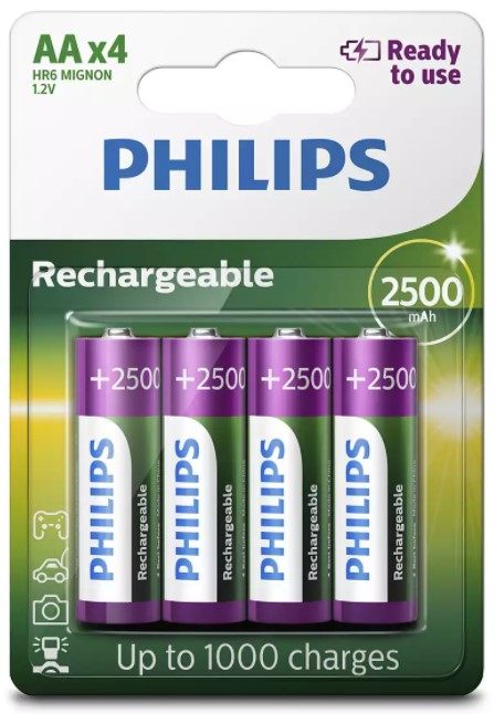 Piles rechargeables AA Philips R6B4RTU25/10