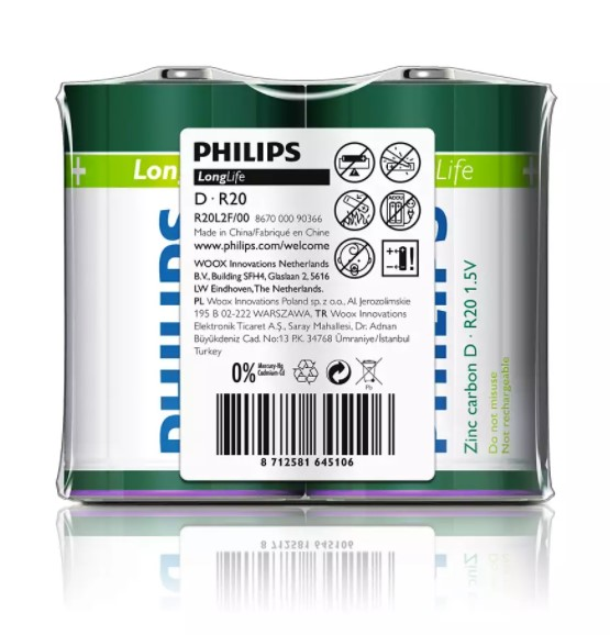 Piles Longlife Philips R20L2F/10