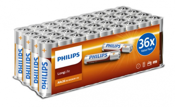Piles Philips LongLife AA R6L36FV